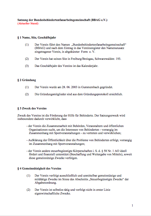 Aktuelle Satzung des BBAG e.V.