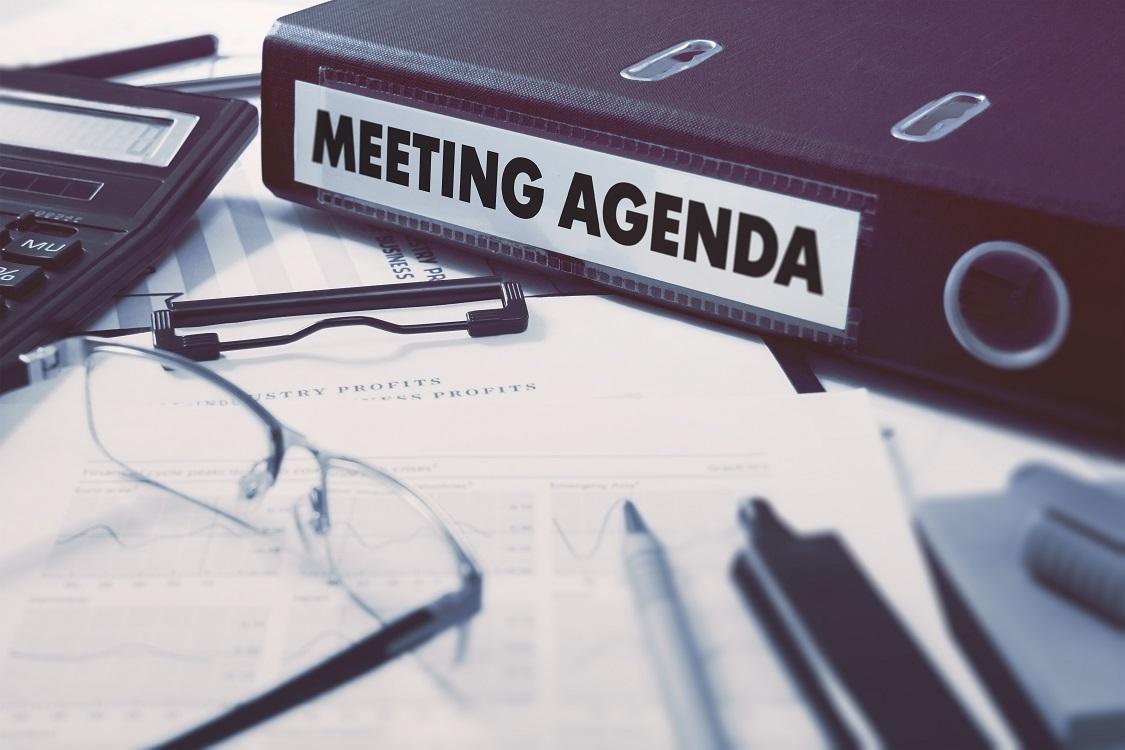 Bild einer Mappe für eine Tagesordnung / Meeting Agenda